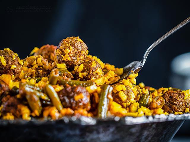 Keto Persian Lubia Polo Meatballs