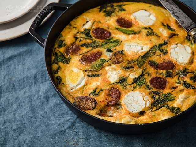 Chorizo, Spinach & Goat's Cheese Frittata