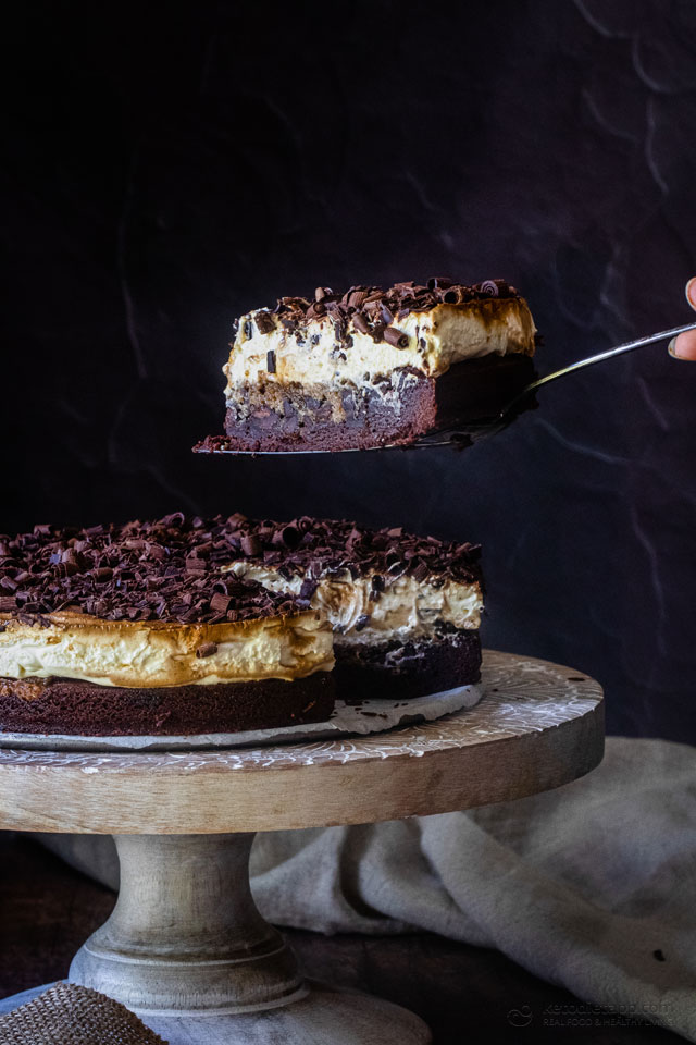 Keto Tiramisu Brownie Celebration Cake