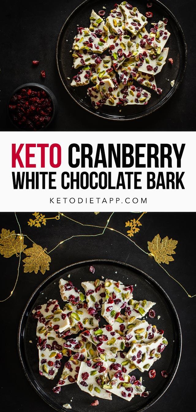 Keto White Chocolate Cranberry Bark