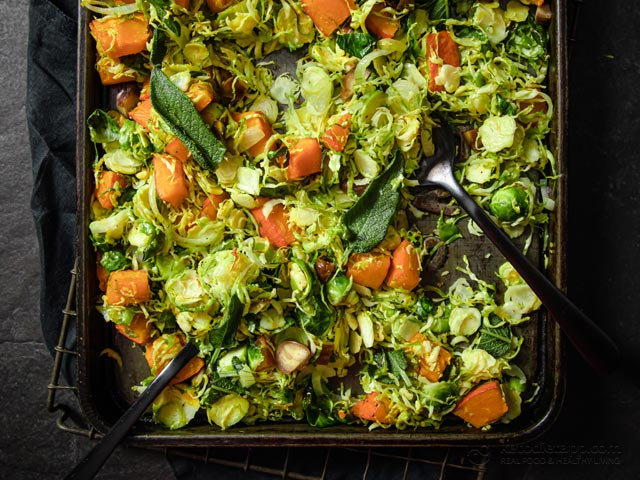 Butter Brussels Sprouts with Pumpkin & Chestnuts