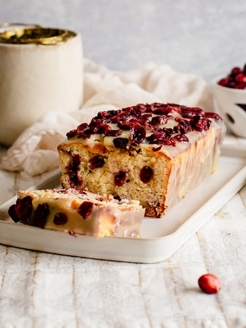 Low-Carb White Chocolate Cranberry Bread