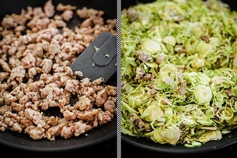 Keto Brussels Sprout & Sausage Crack Slaw