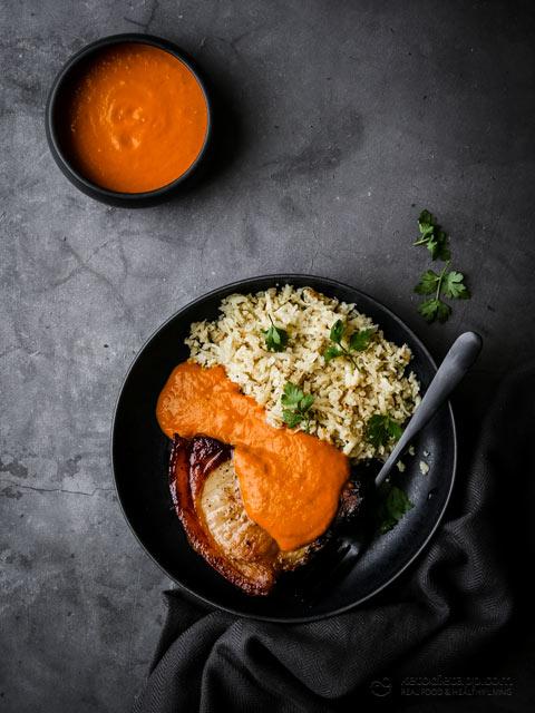 Keto Curried Pork Chops with Cauliflower Rice