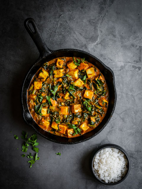 Keto Curried Spinach Paneer Skillet