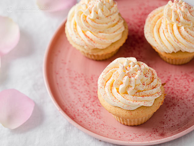 Keto Cupcakes with Swiss Meringue Buttercream Frosting