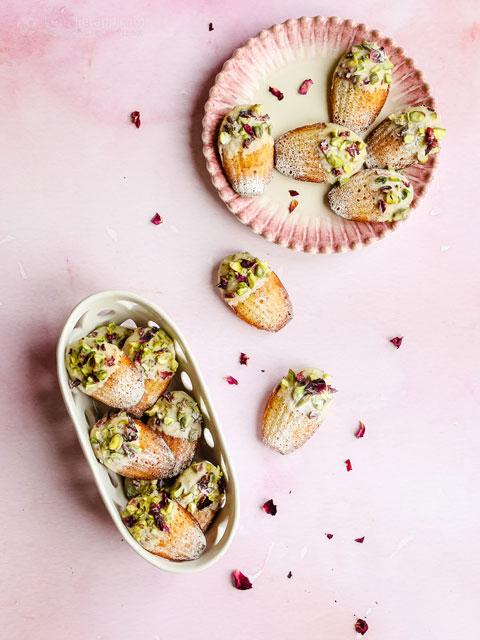 Keto Pistachio, Rose & White Chocolate Madeleines