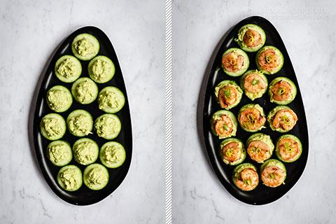 Chipotle Shrimp Guacamole Cucumber Stacks