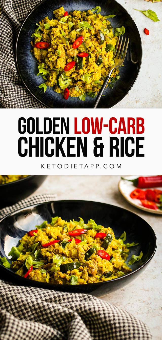 Low-Carb Golden Chicken with Cauliflower Rice