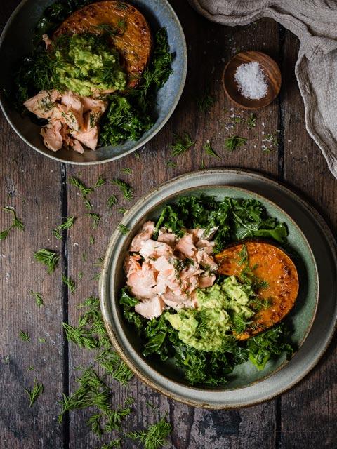 Keto Baked Salmon, Avocado & Pumpkin Bowls