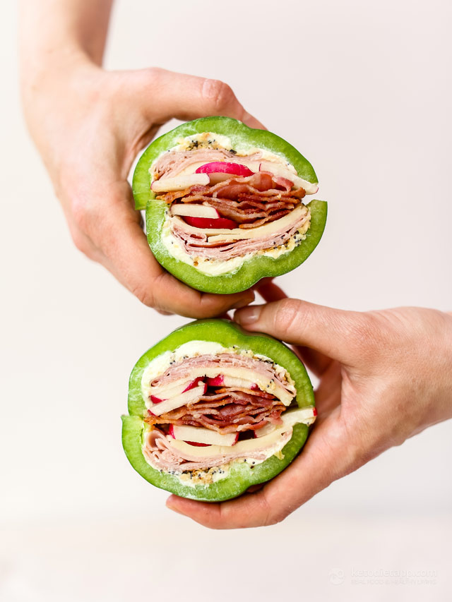 Bell Pepper Sandwich with Bacon, Ham & Cheese