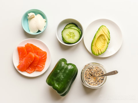 Bell Pepper Sandwich with Smoked Salmon & Avocado