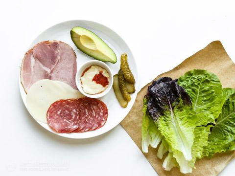 Ham & Cheese Unwich with Sriracha Mayo