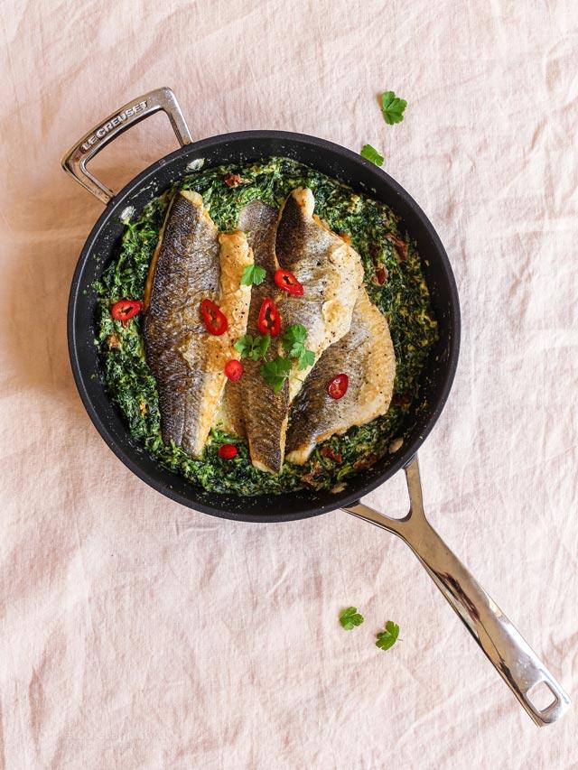 Keto Tuscan Sea Bass with Creamy Spinach