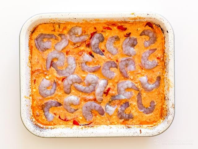 Low-Carb Baked Feta Shrimp Pasta
