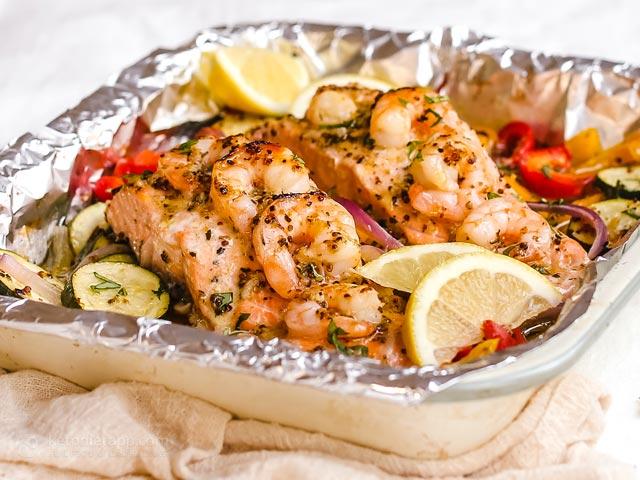 Keto Garlic Mustard Shrimp & Salmon Traybake