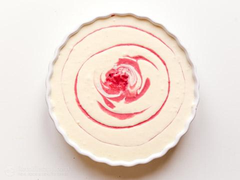 No Bake Keto White Chocolate & Raspberry Cheesecake