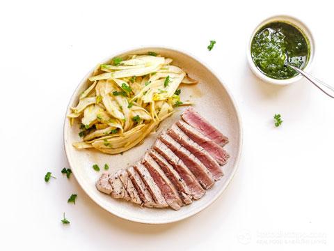 Keto Seared Tuna with Fennel and Pesto