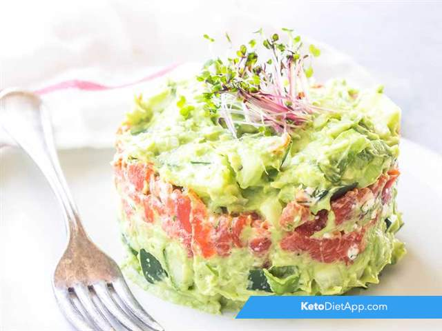 Avocado & salmon stacks