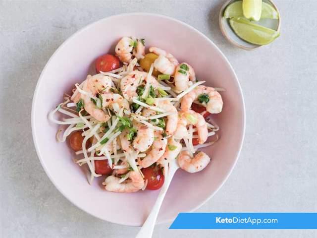 Warm tomato & prawn salad