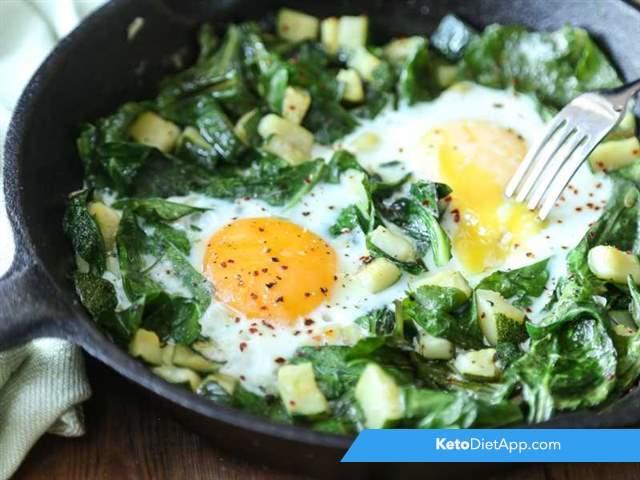 Green skillet eggs