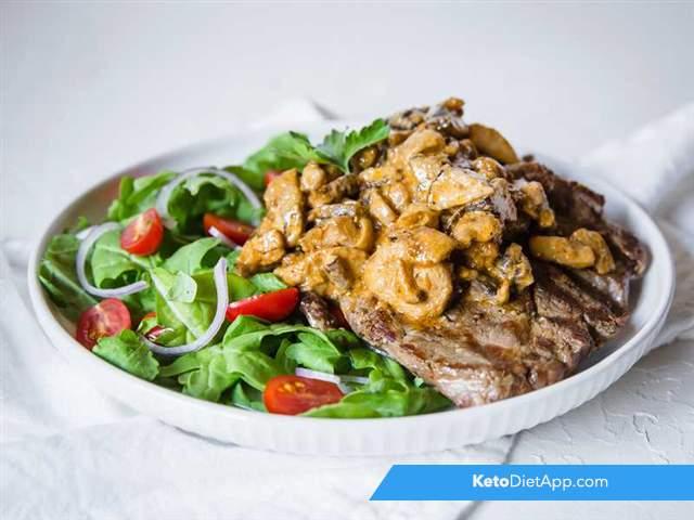 Ribeye with mushroom sauce