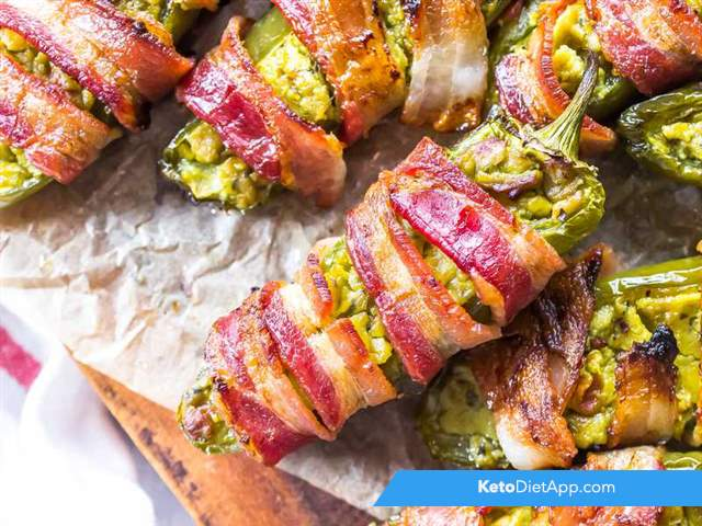 Bacon-wrapped guacamole jalapenos