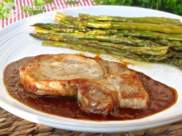 Pork chops with BBQ glaze