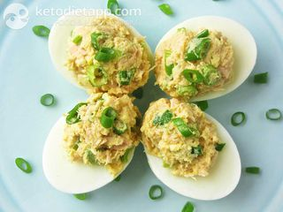 Tuna stuffed deviled eggs