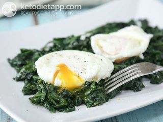 Poached eggs on a bed of spinach
