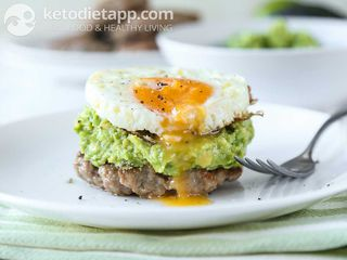 Breakfast sausage & guac stacks