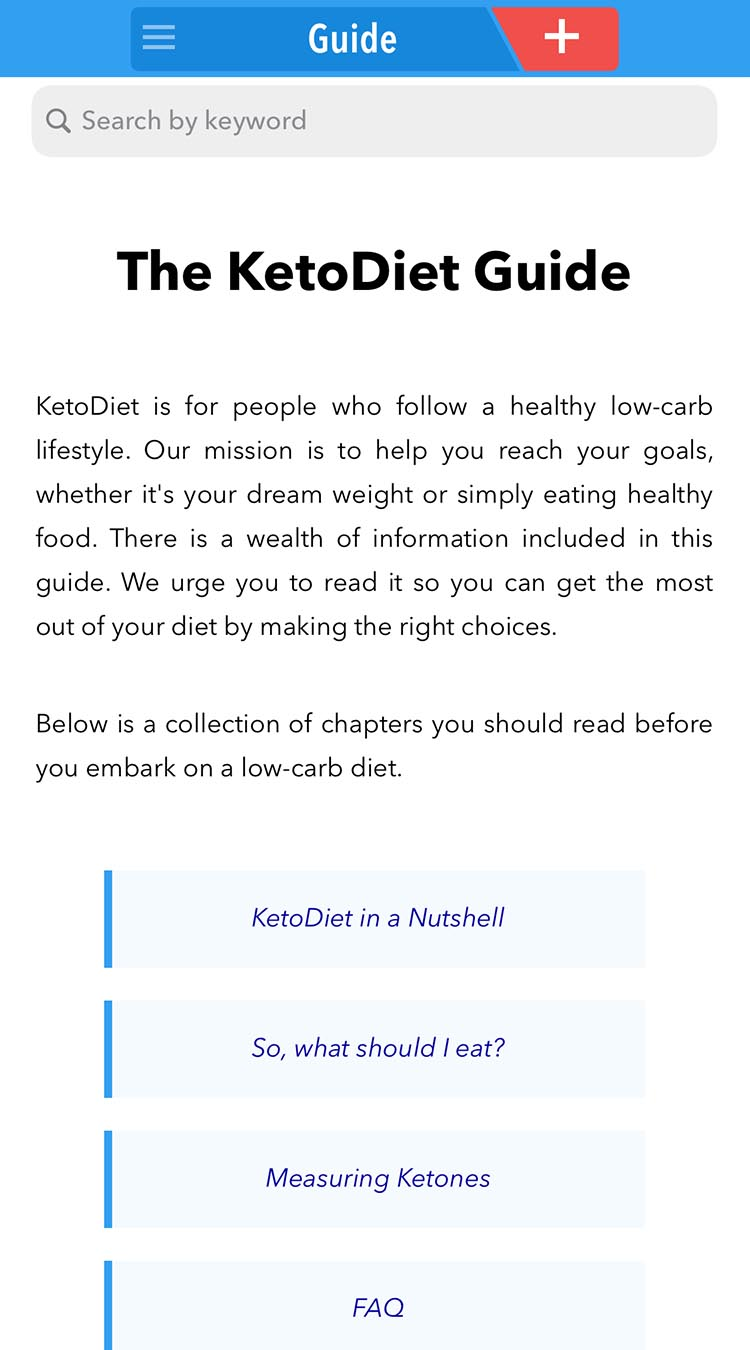 KetoDiet App Feature: Guide