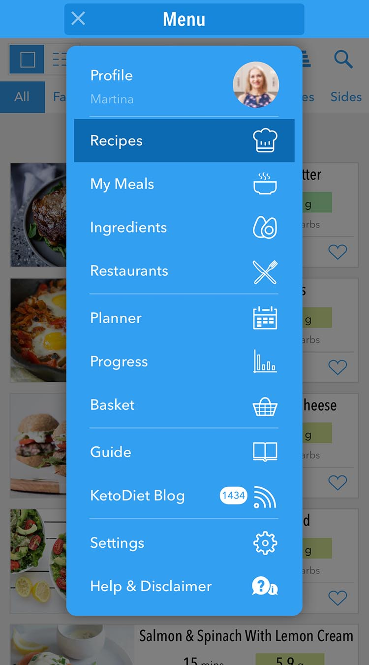 KetoDiet app top level menu